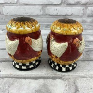 Sunflower Chicken Salt Pepper Shakers Country